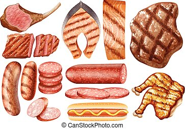 Different types of food on white background