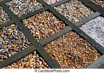 Different types of gravel - Selection of various different...