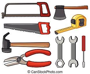 Different types of handtools illustration