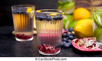 Different types of homemade detox water