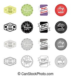 Different types of labels, vegan, mega discount, sale. Label set collection icons in cartoon black monochrome outline style vector symbol stock illustration web.