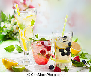 Lemonade with berries and fruits - Different types of ...