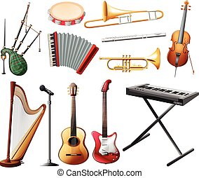 Different types of musical instrument on white