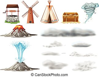 Different types of objects and clouds