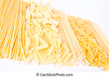 Different types of pasta on a white background