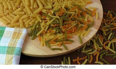 Different types of pasta on cutting