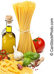 different types of pasta with fresh vegetables and herbs