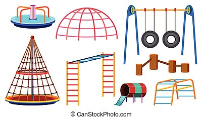 Different types of play stations for playground illustration