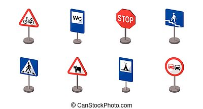Different types of road signs icons in set collection for design. Warning and prohibition vector symbol stock web illustration.