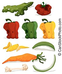 Different types of rotten vegetables