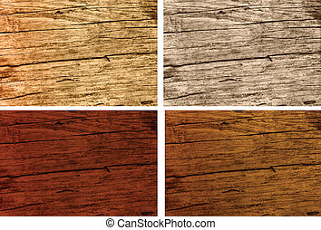 different types of rustic old oak wood - different stained...