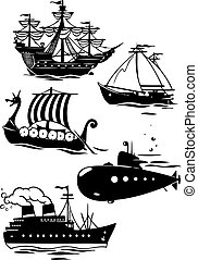 different types of ships - The illustration shows some...