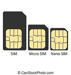 Different types of SIM card. Vector illustration, flat design.
