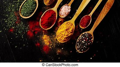 Different types of spices in spoons - From above view of...