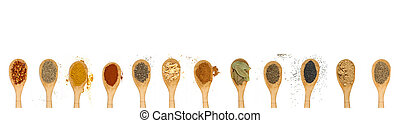 different types of spices isolated on white background