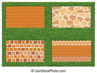 Different types of stone and brick masonry