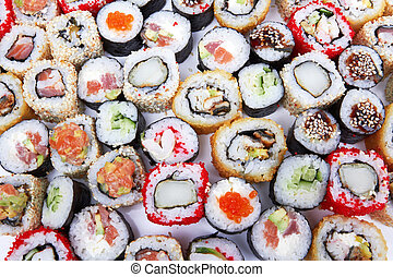 sushi - different types of sushi as background