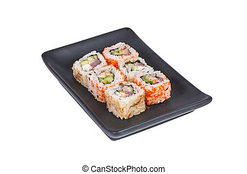 Sushi in a plate isolated on white background