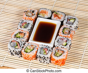 Different types of Sushi in a plate