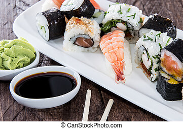 Different types of Sushi on a plate