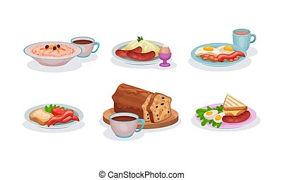 Different Types Of Tasty Or Healthy Breakfasts Vector Illustration Set Isolated On White Background