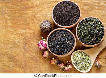 Different types of tea in a wooden bowl