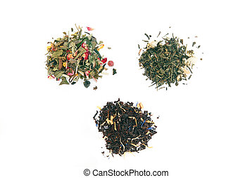 different types of tea over white