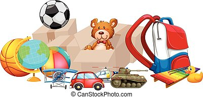 Different types of toys in one pile