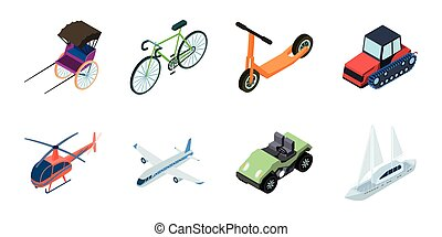 Different types of transport icons in set collection for design. Car and ship isometric vector symbol stock web illustration.
