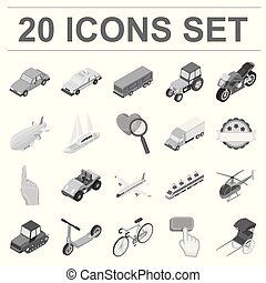 Different types of transport monochrome icons in set collection for design. Car and ship isometric vector symbol stock web illustration.