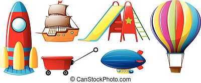 Different types of transportations and toys