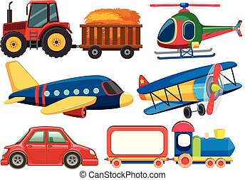 Different types of transportations on white background