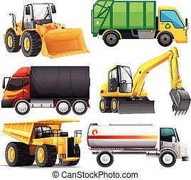 Different types of trucks illustration