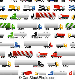 Different types of trucks seamless background