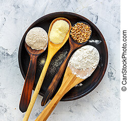 Different types of wheat flour.