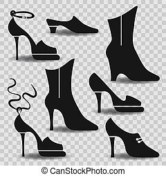 Different types of women shoes on abstract background....