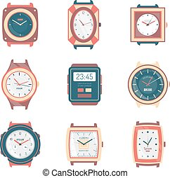 Different Types Watches Flat Icons Collection - Different...