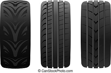 Different tyre on white background