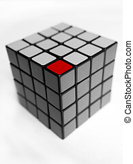 Different unique red cube.
