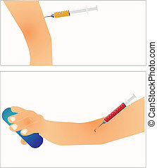 Different usages of needles and syringes..