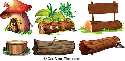 Different uses of woods - Illustration of the different uses...