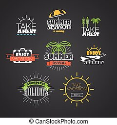 Different vacation and trip color logo collection