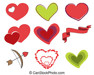 Different Valentine Hearts - vector