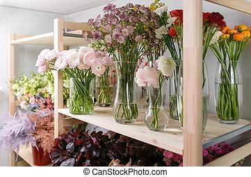 Flower shop concept different varieties fresh spring stock different varieties fresh spring flowers in refrigerator for flowers in flower shop bouquets on mightylinksfo
