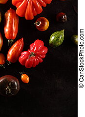 Different varieties of fresh ripe tomatoes