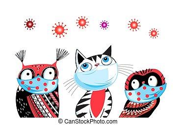 Different vector animals in masks