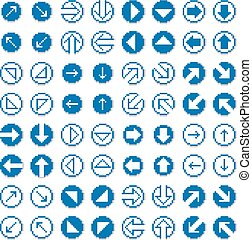 Different vector arrows, pixel icons isolated, collection of 8bit graphic elements. Simplistic digital direction signs, web icons.