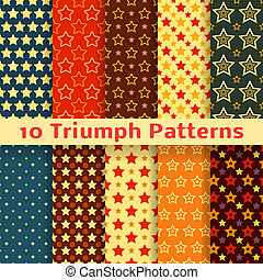 Different vector holiday triumph star shape seamless pattern...