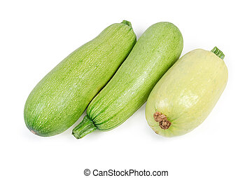 Different vegetable marrows on a white background