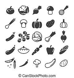 Different vegetables black glyph vector icons set